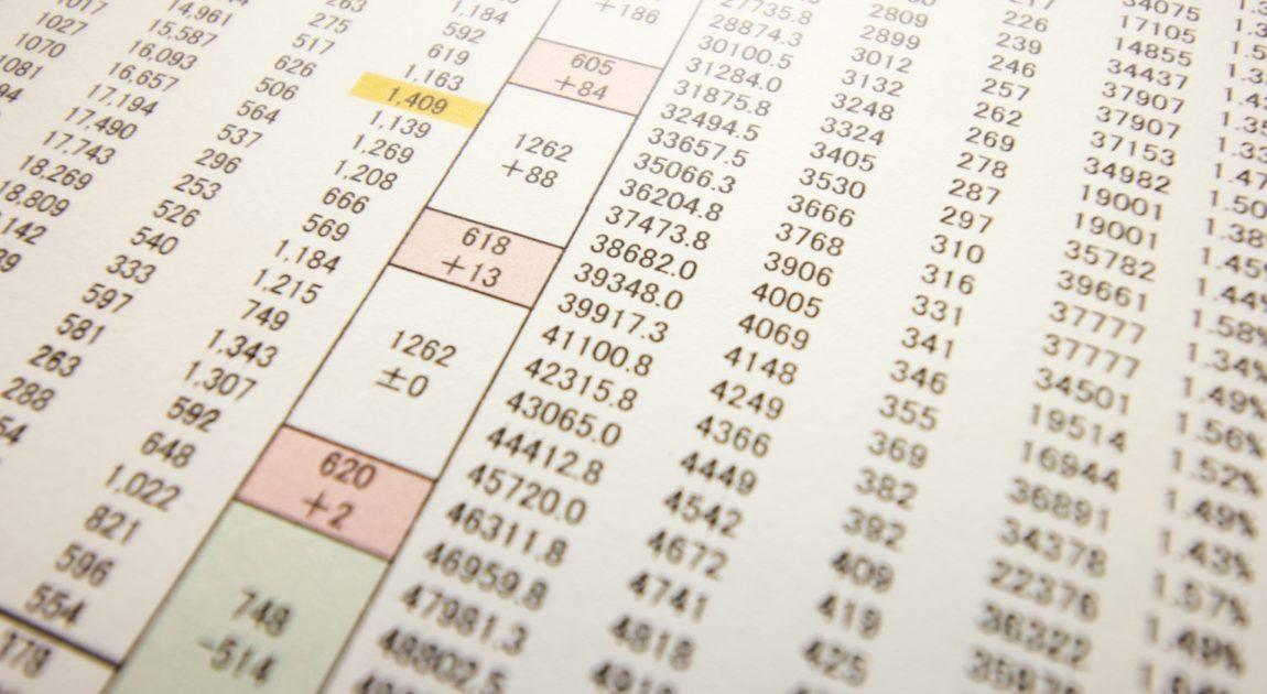 数字の並んだ表