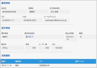 kintone顧客情報アプリイメージ