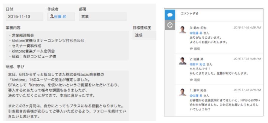 kintone営業日報イメージ