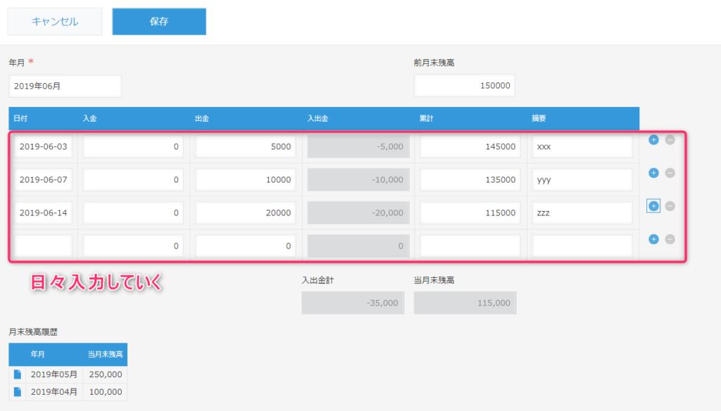 kintoneテーブルへの登録画面のイメージ